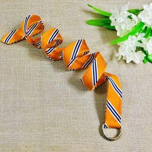 J CREW Orange & Navy Striped 100% Silk D-Ring Belt